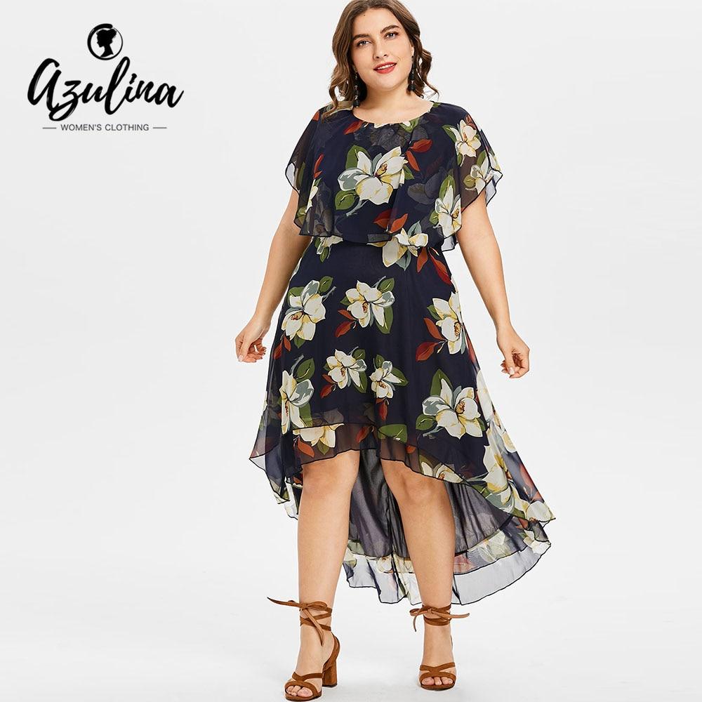 3b75dcf4540d7 AZULINA Plus Size Flower Print Asymmetrical Dress Women Summer Short Sleeve  O Neck Dresses Vestido 2018 Casual Dress Robe Femme