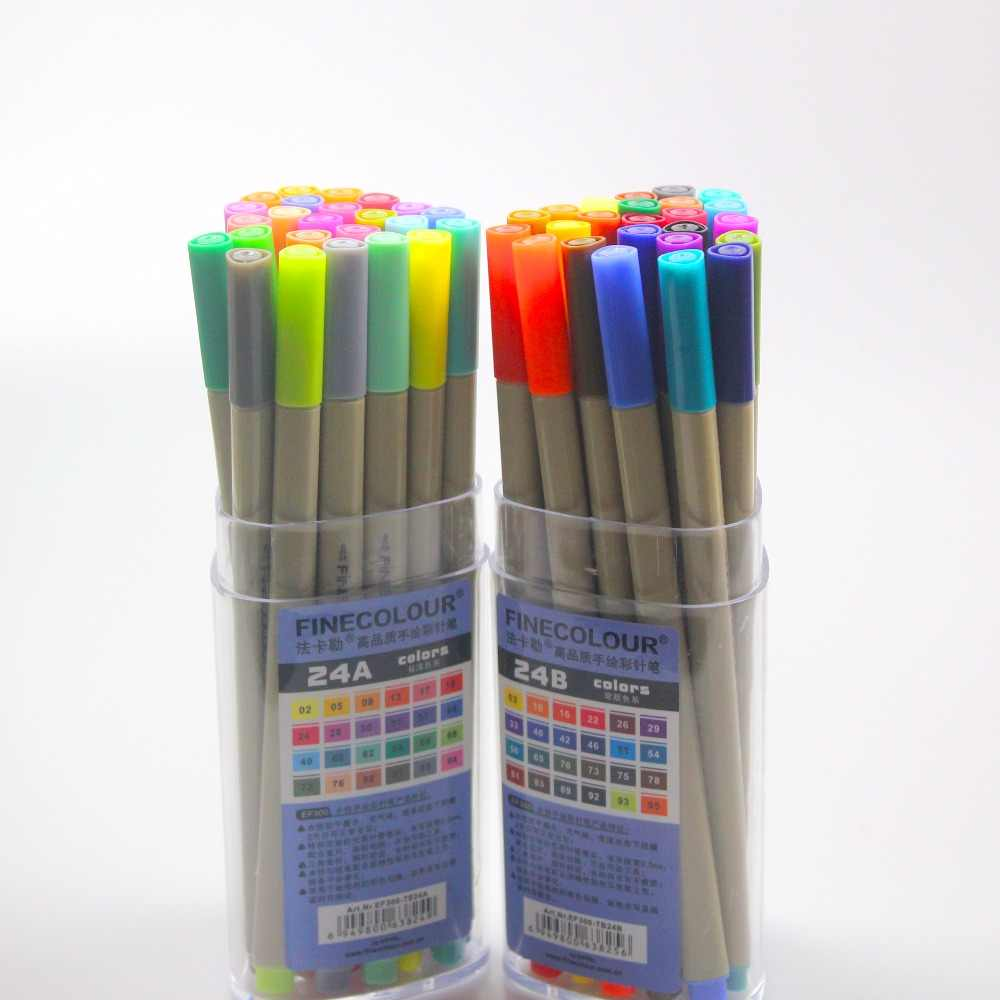 Finecolour EF300 Sketch Colored Liner 0.3mm 48 Colors Good Quality Hand-Painted Needle Art Markers Pen with Plastic Case