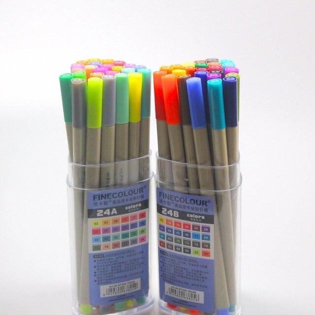 Finecolour Esboço EF300 Forro Colorido 0.3mm 48 Cores de Boa Qualidade da Mão Pintado Agulha Marcadores Da Arte Caneta com Plástico caso