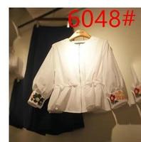 2016 Summer Fashion Women Shirts Zipper Full Sleeve Net Version Open Blouse Shirt White 6048