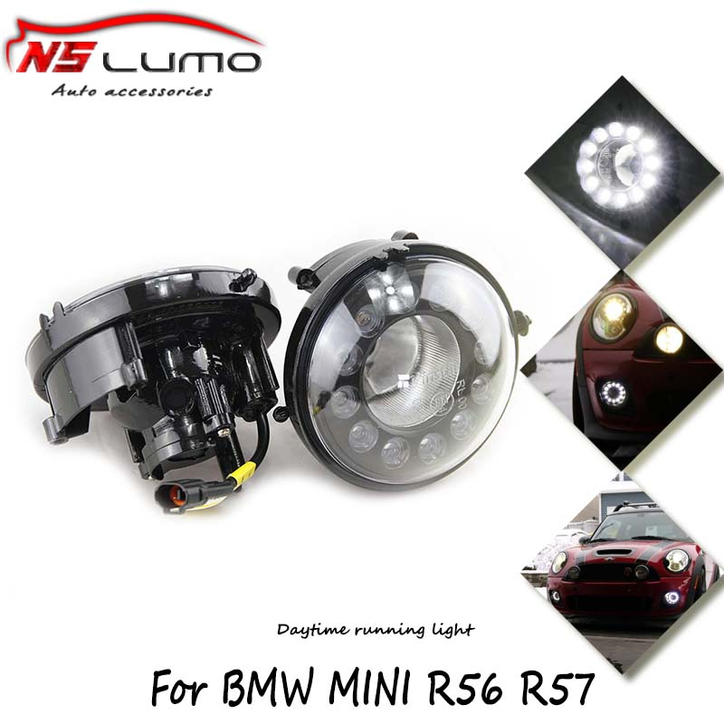 car auto led 12V drl daytime running light kits round for Mini cooper R55 R56 R57 R58 R59 R60 100% waterproof driving fog lamp цена