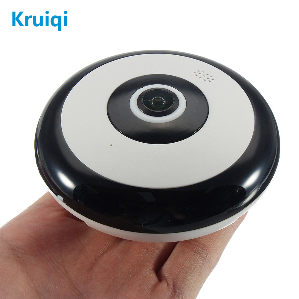 Kruiqi 360 Degree Panoramic Wireles IP Camera 1080P Audio Video WiFi 2MP HD Fish-eye Lens Wide Angle Night Vision VR CCTV Camera 360 camera hd panoramic mini camera wide dual angle fish eye lens action camera 3040 1520 usb sport