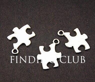50 шт., серебристая головоломка, подвеска, сделай сам, металлический браслет, колье, фурнитура для ювелирных изделий, 18x14 мм, A813