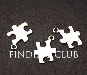 50pcs Silver Color Puzzle Piece Jigsaw Charm DIY Metal Bracelet Necklace Jewelry Findings 18x14mm A813(China)