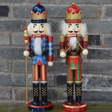 2pcs/set 37CM Nutcrackers colletction home decoration Orignal wood Figurines ornaments Christmas Decoration Puppet