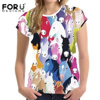 f3cce9c813 FORUDESIGNS Lovely Colorful Horse Pattern Casual Women T Shirt Summer  Breathable Tee Shirt For Ladies Short