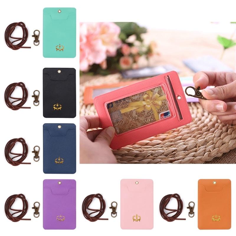 THINKTHENDO Fashion Faux leather Unisex ID Card Holder Card Bag Badge Neck Strap Lanyard Key Ring Keychain Gift