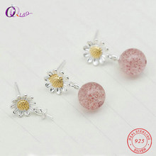 A pair 925 sterling silver flower Earring Ear Pin for women jewelry DIY Daisy flower wedding Earrings pins jewelry findings(China)