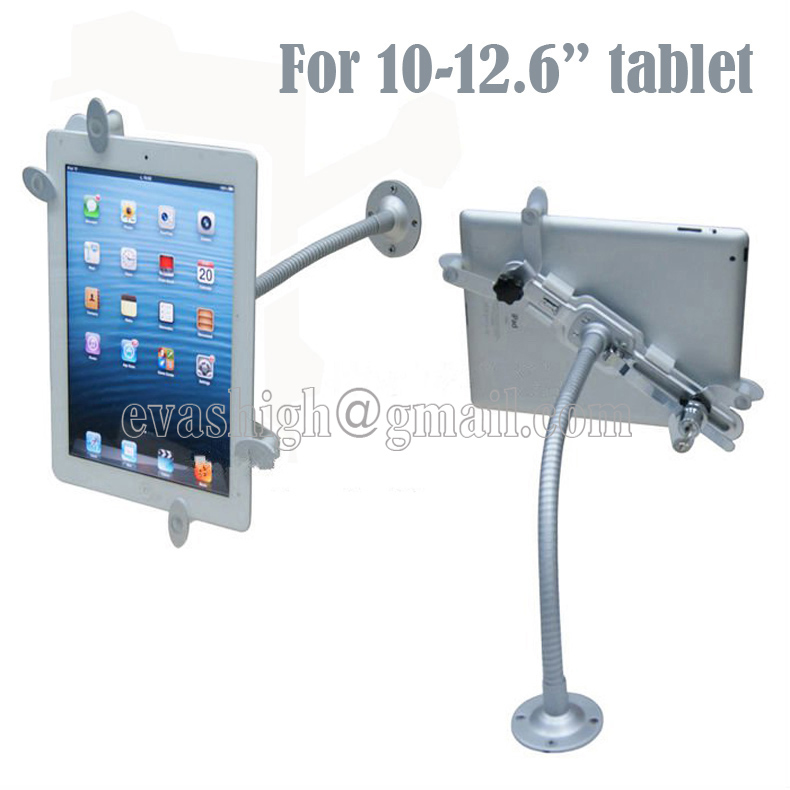 ФОТО Ipad security clamp tablet lock holder display stand with gripper tube mount on wall or desktop for 10 to 12.6 inch tablet pc