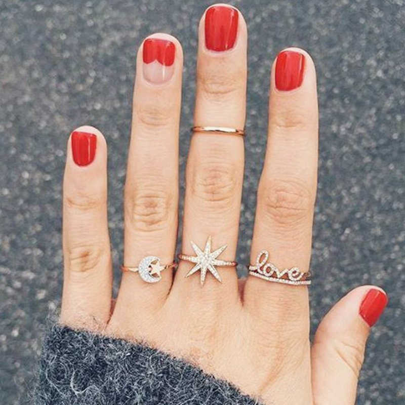 New Ring Fashion Popular Crystal Love Letters Pentagram Moon Women's Ring Combination Set Hot Sale Joker Accessories Wholesale