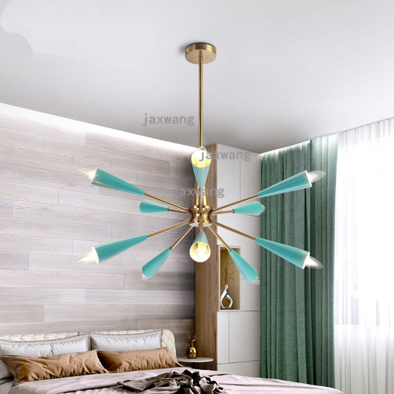 Ceiling Lights & Fans Macaron Color Sitting Room Shop Restaurant Bar Balcony Staircase Corridor Iron Art Led Chandelier Distinctive For Its Traditional Properties Pendant Lights