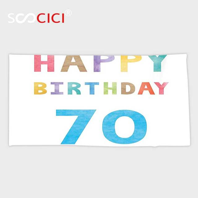 Custom Microfiber Ultra Soft Bath Hand Towel70th Birthday Decorations Vintage Worn Abstract 70 Happy Party Quote