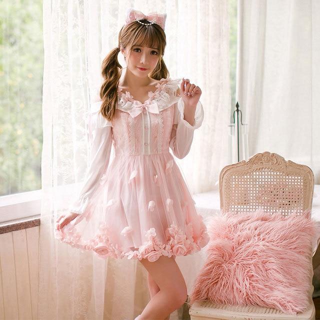 92f2aaa80c4d Princess sweet lolita dress Candy rain dress autumn slim dress sweet girl  long sleeved fresh pure color princess dress C22CD7181