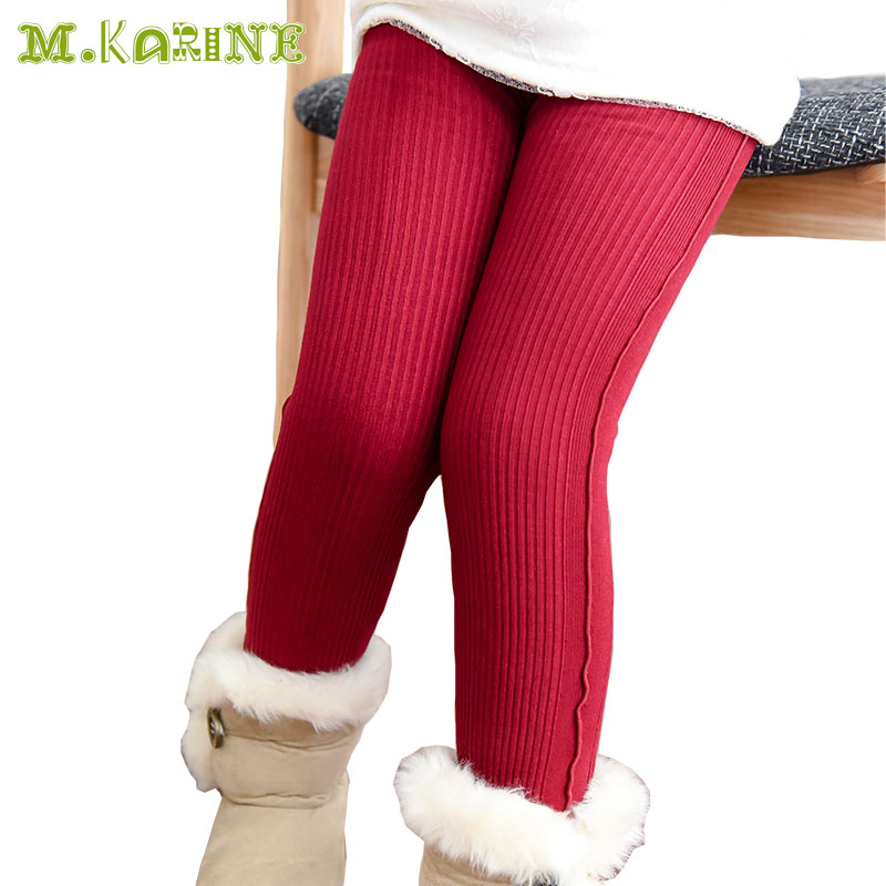 High quality Winter Autumn Thick Lined Knit Striped Warm Girls Leggings Children Clothing Screw Thread Velvet Cotton Kids Pants striped tape applique velvet pants