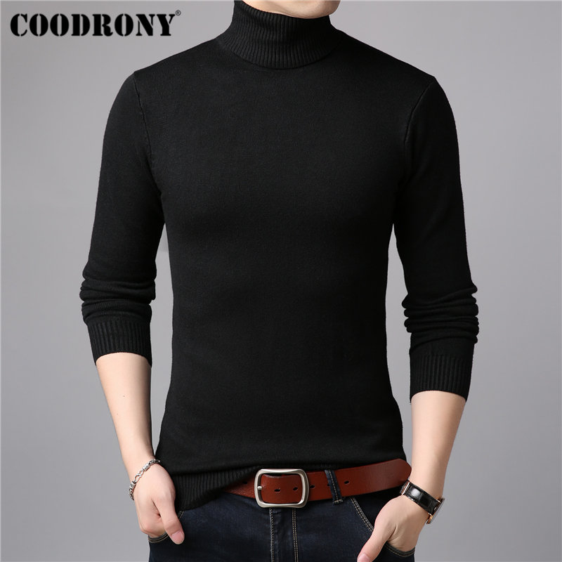 COODRONY Wool Pullover Turtleneck Sweater Men Soft-Knitwear Cashmere Winter Cotton Warm