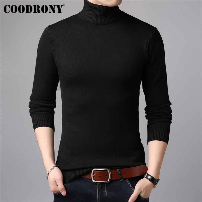 COODRONY Mens Sweaters Cashmere Cotton Sweater Men Soft Knitwear Pull Homme Winter Thick Warm Turtleneck Wool Pullover Men 91011