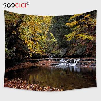 Cutom Tapestry Wall Hanging,Nature Small Waterfall Brandywine Creek National Park Ohio Autumn Fallen Leaves Yellow Green Redwood