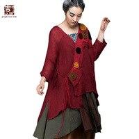 Jiqiuguer Kadın Keten Bluz Gömlek Vintage Asimetrik Artı boyutu V Yaka Gevşek Casual Yaz siyah Kimino Hırka G151Y017 Tops