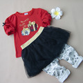 New Baby Girl Clothes Little Girl's Gift Sequins Kids Clothing Suit Set Long Top T-shirt & Skirt Pant  Spring Princess Style