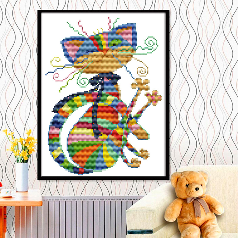 Kucing Kanvas berwarna-warni yang berwarna-warni DMC Dihitung Cross Stitch Kit dicetak Cross-stitch set Embroidery Needlework