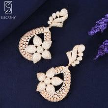SISCATHY Luxury Flower Women Earrings Dubai Gold Silver AAA Cubic Zirconia Inlaid Pierced Big Dangle Drop 2019