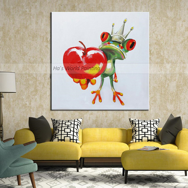 Hand Painted Modern Abstract Cartoon Animal Oil Painting On Canvas ...
