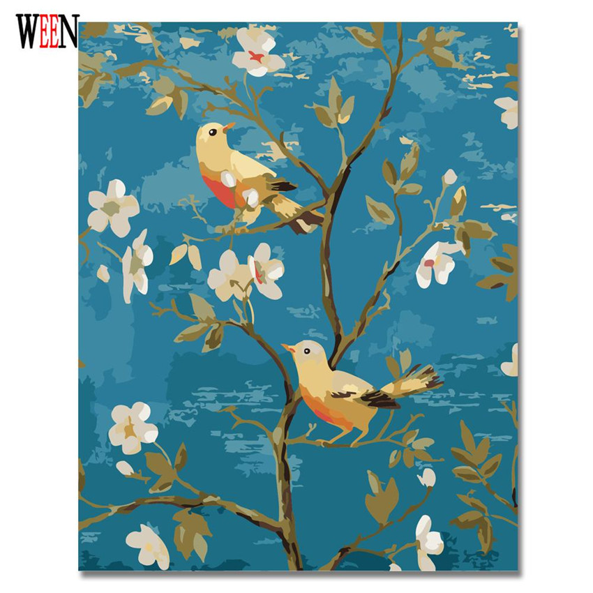 WEEN Magpie Flower Pictures by Numbers DIY Hand Painted Animal Oil Paitning Canvas Coloring Cuadros Decoracion For Living Room