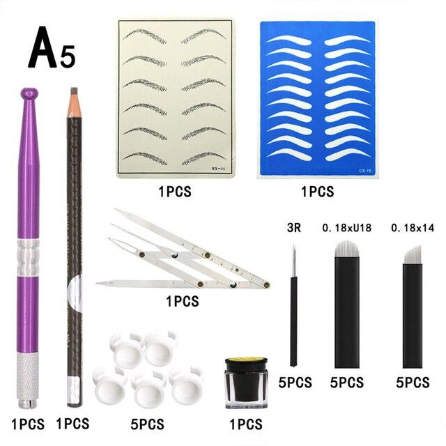 Microblading accessories Tattoo Supplies Permanent Makeup Eyebrow Tattoo Kit Tattoo Needles Pen Ring Practice Skin Tattoo Ink