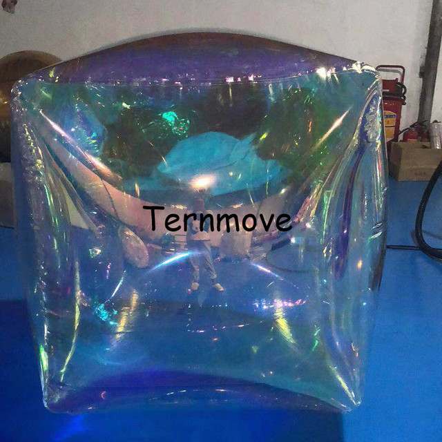 colorful inflatable mirror cube ball,silver golden blue red clear mirror inflatable cube balloon squire decoration balloon