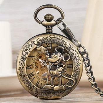 цена на Classic Retro Mickey Mouse Display Mechanical Hand Wind Pocket Watch Bronze Pendant Clock Roman Numeral Dial New 2019