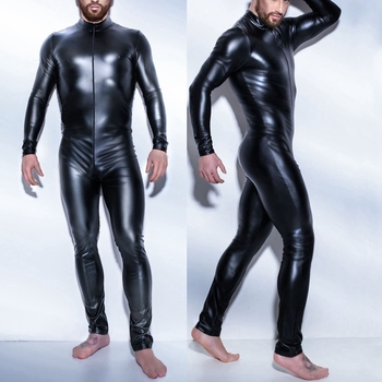 Patent Leather Zipper Open Crotch Latex Catsuit Jumpsuit Sexy Lingerie for Men Erotic Costumes Spandex Catsuit Bodysuit Clubwear 1