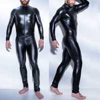 Lackleder Reißverschluss Gabelung Latex Catsuit Overall Sexy Dessous für Männer Erotische Kostüme Spandex Catsuit Body Clubwear