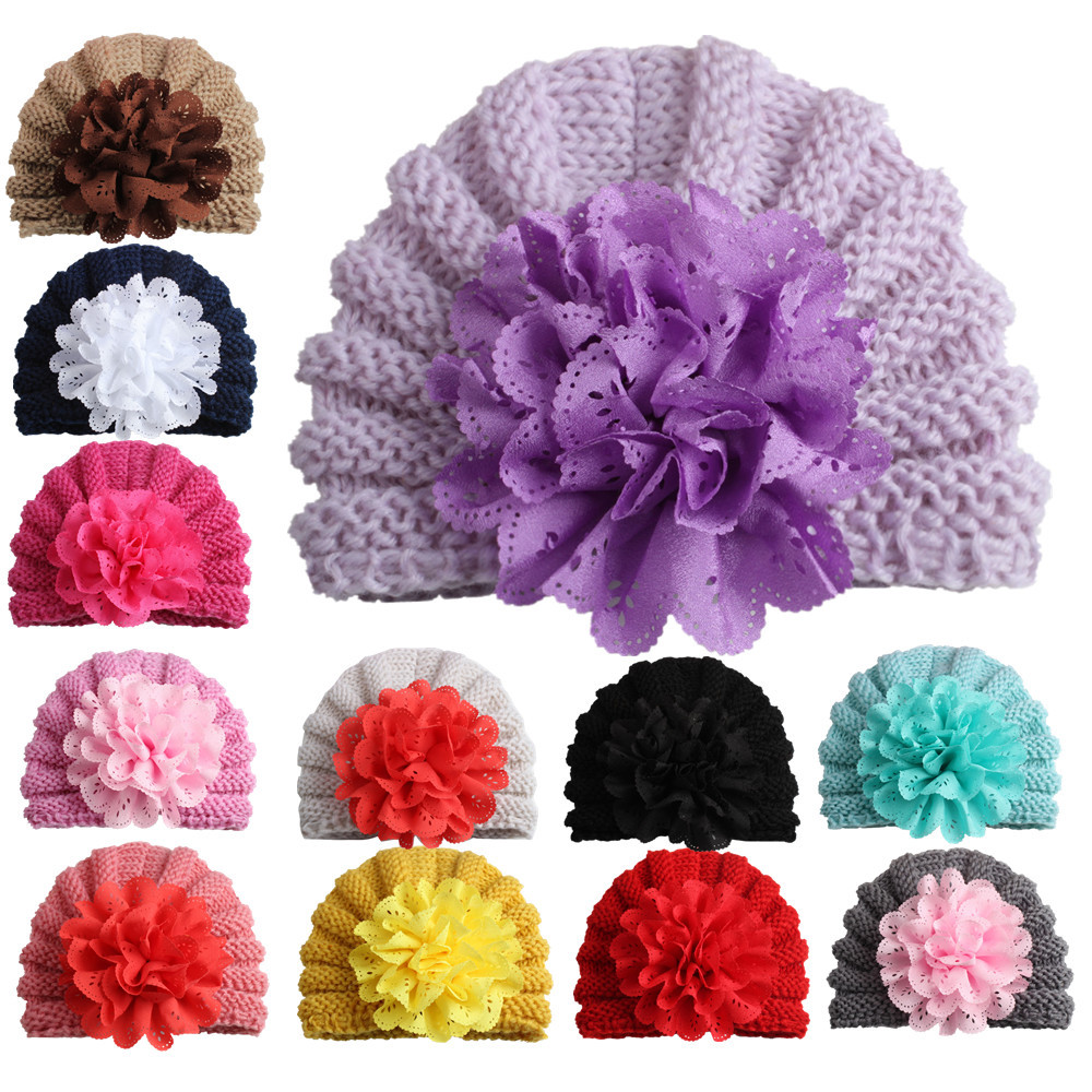 DreamShining New Brand Baby Hat Cute Flower Kids Cap For Girl Crochet Knitted Beanies Newborn Photography Props Todder Hats