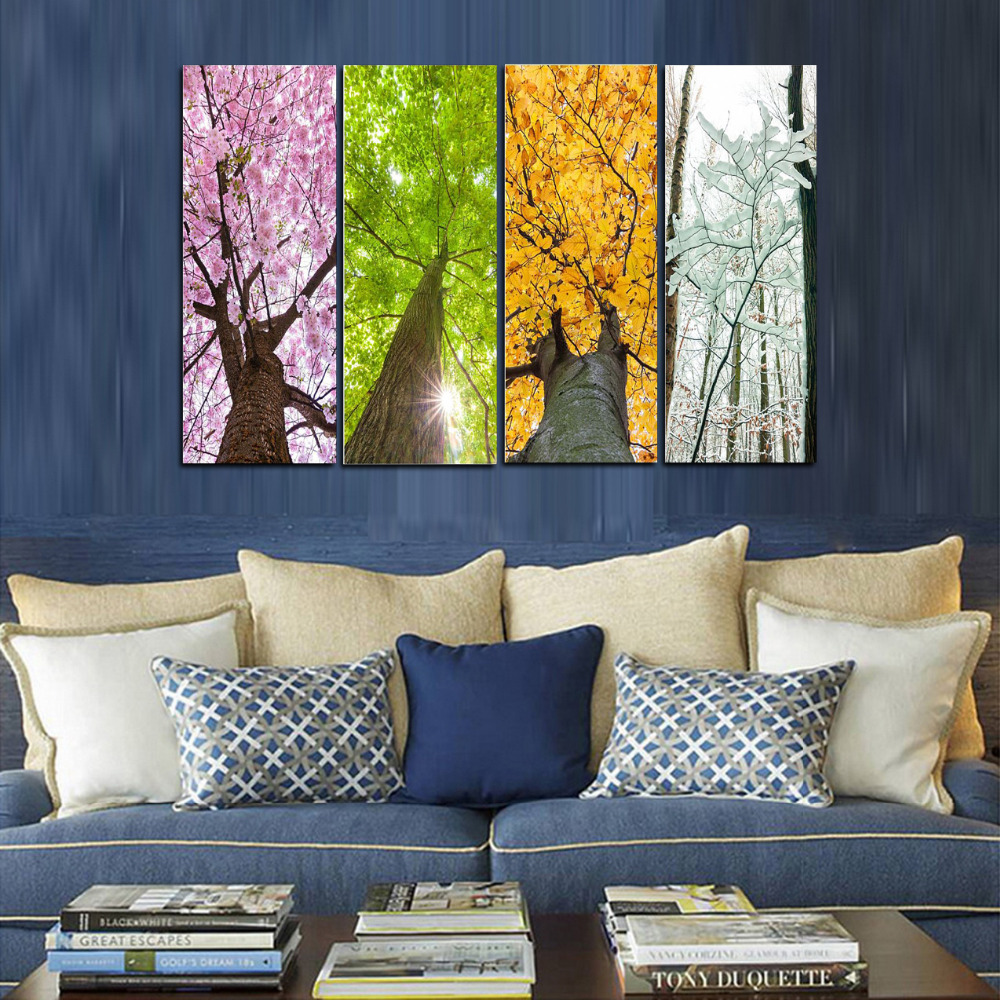Compare prices on 4 season tree painting online shopping for 4 season decoration