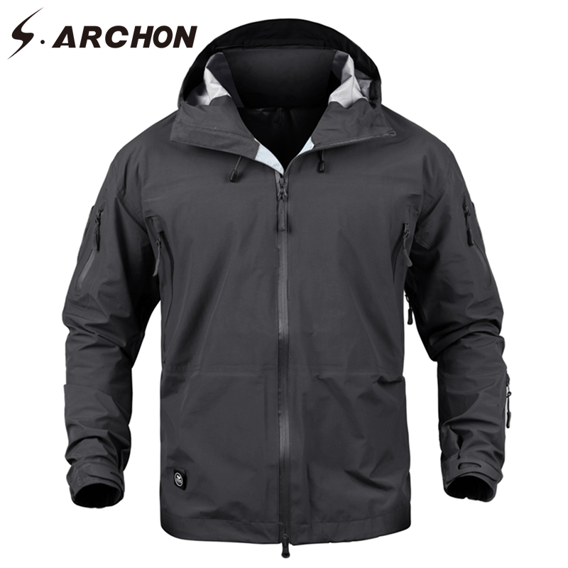 S.ARCHON Hard Shell Waterproof Military Jacket Men Hooded Windproof Camouflage Tactical Jacket Male Army Windbreaker Jacket Coat