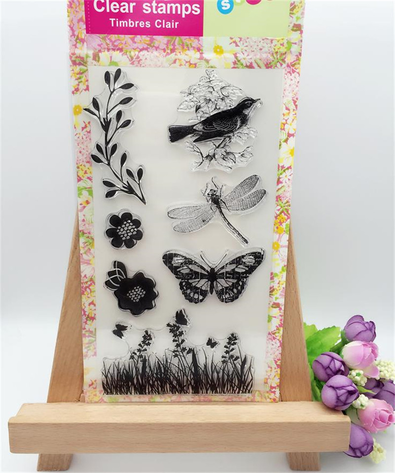 bird and butterfly Scrapbook DIY photo Album paper cards craft rubber stamp clear stamp transparent stamp for wedding giftCL-227 wyf1017 scrapbook diy photo album cards transparent silicone rubber clear stamp 11x16cm camera