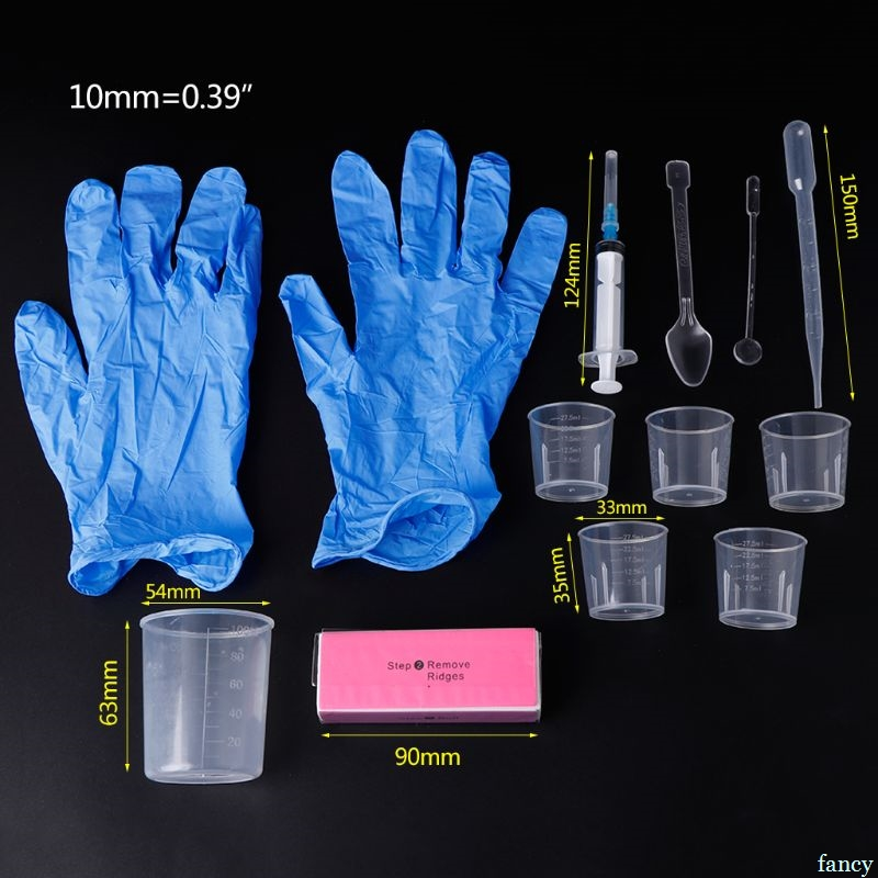 1 Set Epoxy Resin Kit DIY Jewelry Making Handmade Professional Disposable Gloves Cup Polish Syringe Mix Stick Tools Spoon