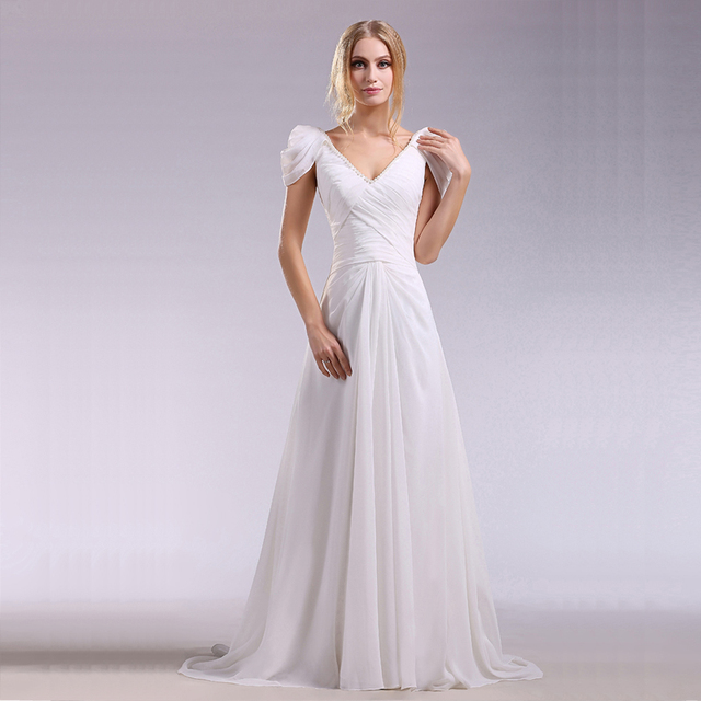 JAEDEN Double V Neck Wedding Dresses Pleat Chiffon Satin Pearls Cap Sleeves Bridal Gown W096