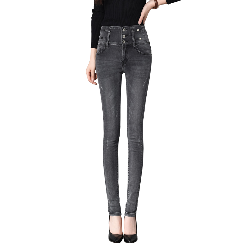 Women Skinny Pencil Jeans Autumn New High-Waist Sexy Slim Elastic Washed Denim Long Pants Trousers Lady Fat Trousers Plus Size new pencil pants high waist elastic denim long jeans skinny trousers plus size for woman women ladies feminino