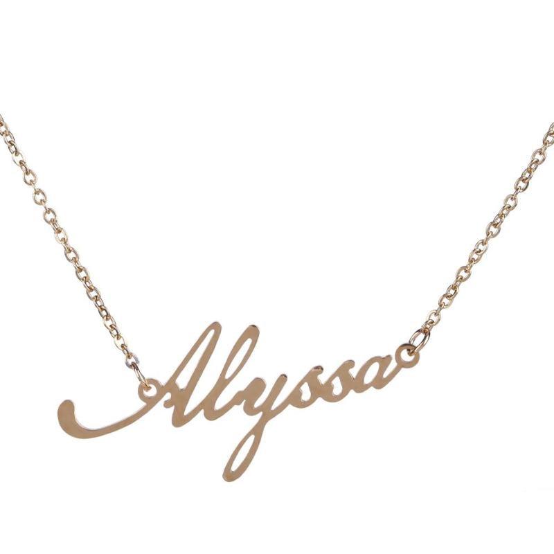 753cee9a56b8 Compre Collar De Nombre Unisex Collares Personalizados De Acero De ...