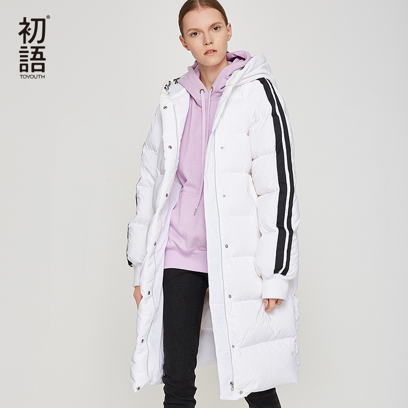 Toyouth Woman Black Duck   Down     Coat   Padded   Coat   Female Striped Warm Long   Coat   Plus Size Outwear Jacket Largas Veste Femme