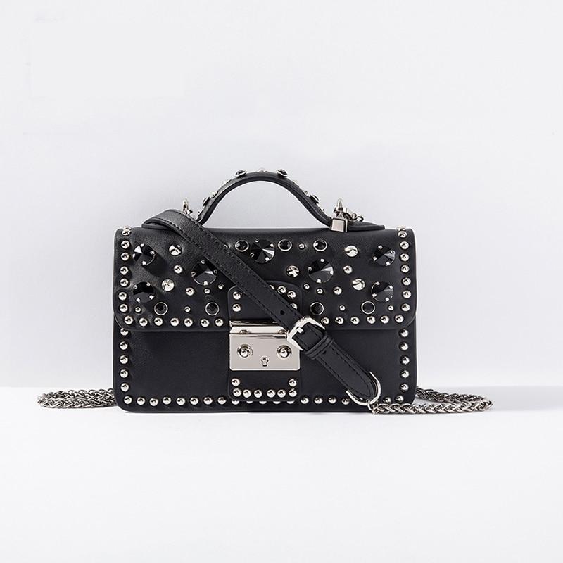 Fashion Women Messenger Bag New Brand Genuine Leather Female Shoulder Bag Luxury Diamond Woman Handbags Strap