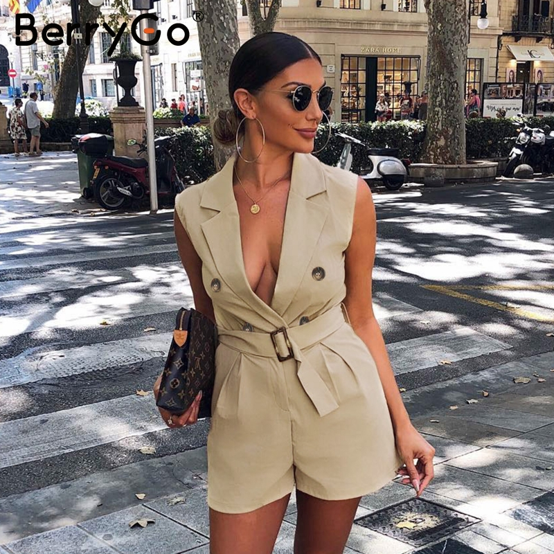 BerryGo women rompers Elegant sashes khaki playsuit Summer womens jumpsuit Office ladies playsuit pockets button zipper rompers(China)