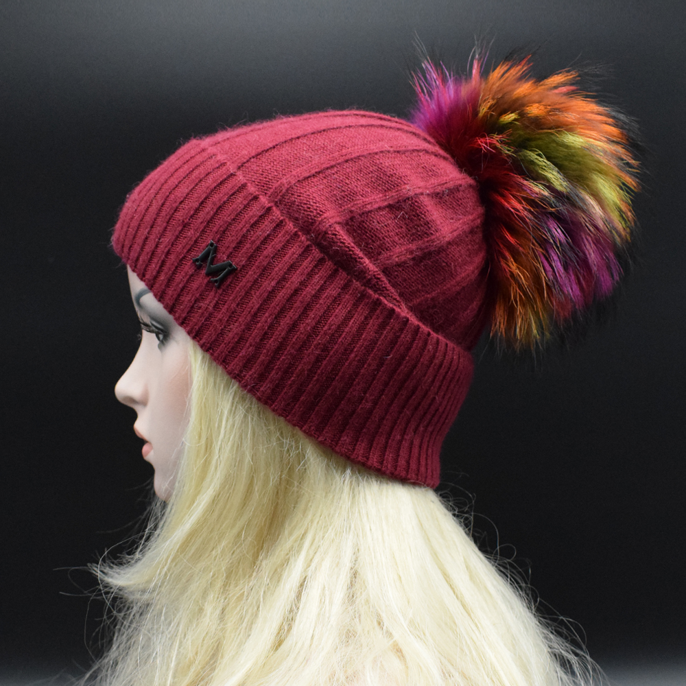 ФОТО 2017 Newest Adult women Winter Hat with multicolored Raccoon fur pompoms High quality Brand wool knitted cap female Sonw Hat