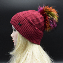 2017 Newest Adult women Winter Hat with multicolored Raccoon fur pompoms High quality Brand wool knitted cap female Sonw Hat