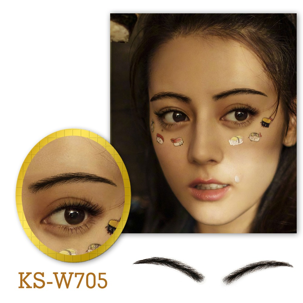 Neitsi Woman One pair 100% Human Hair Lace Base Fake Eyebrows KS W705Eyebrow Enhancers   -