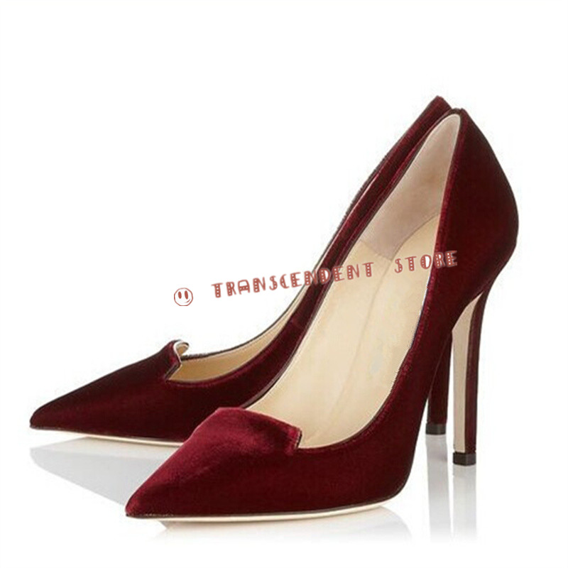 ФОТО New Arrival Spring Autumn Pointed Toe Women Pumps Fashion High Heels Flock Party Pumps Contracted Design Shallow Women Shoes