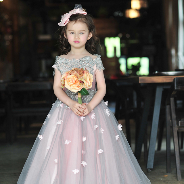 2016 Summer Flower Dress S High End Boutique Children Clothing Small Model Stage Performance