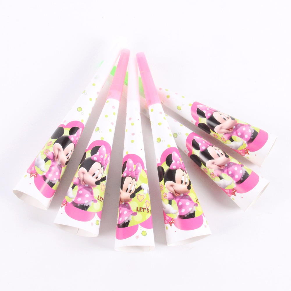 6 pcs/lot Cartoon Theme Minnie Mouse Noise Maker Toy Horns Kids Favors Baby Shower Happy Birthday Party Girl Decoration Supplies