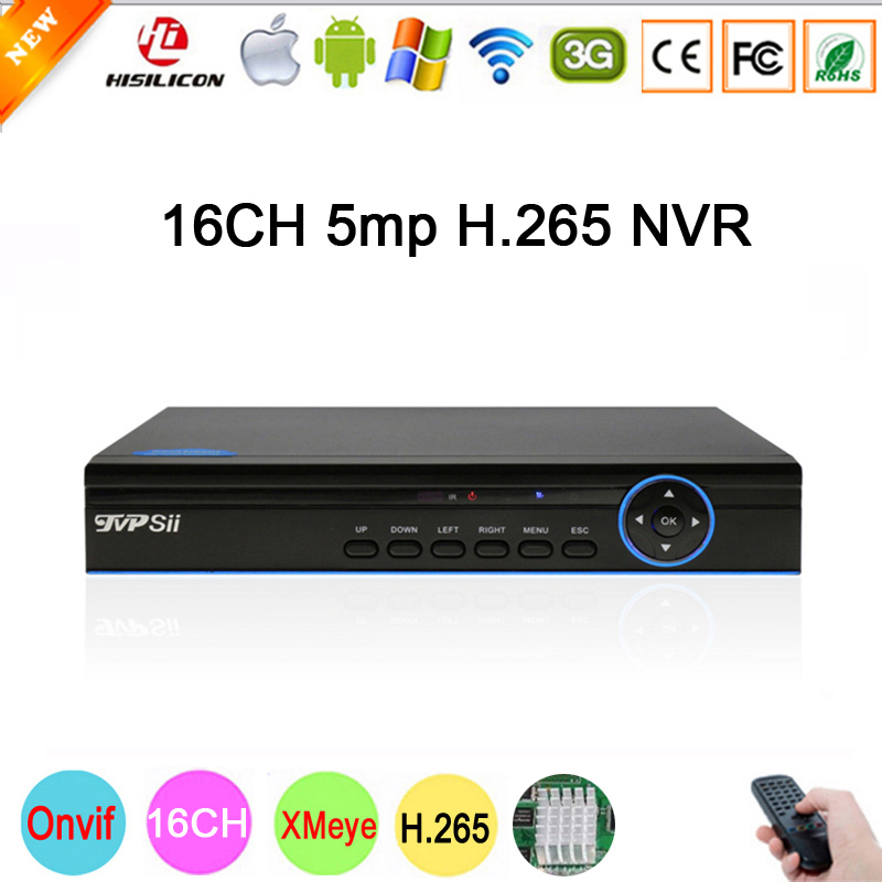 Blue Panel Hi3536D XMeye 1CH RCA Audio output H.265 5mp 16CH 16 Channel Onvif IP Camera Video Recorder CCTV NVR Free Shipping цены